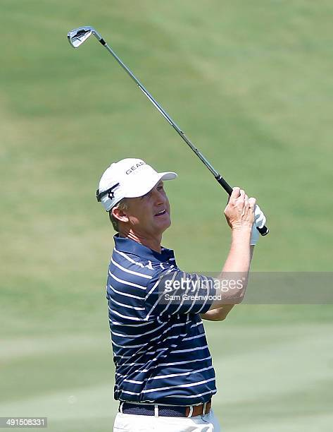 David Toms plays a shot during the second round of the HP Byron Nelson Championship at the TPC Four Seasons Resort on May 16 2014 in Irving Texas