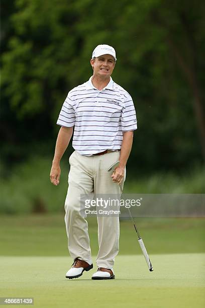 David Toms reacts after making his putt on the 3rd during Round Two of the Zurich Classic of New Orleans at TPC Louisiana on April 25 2014 in...