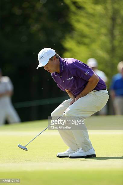 David Toms reacts to a missed putt on the 11th during Round One of the Zurich Classic of New Orleans at TPC Louisiana on April 24 2014 in Avondale...