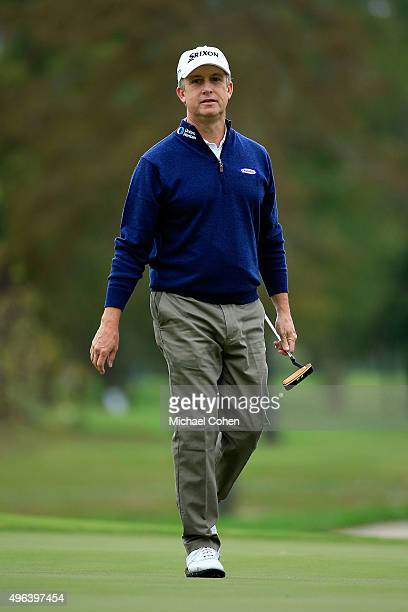 David Toms reacts to a putt on the sixteenth hole during a continuation of round three of the Sanderson Farms Championship on November 9 2015 in...