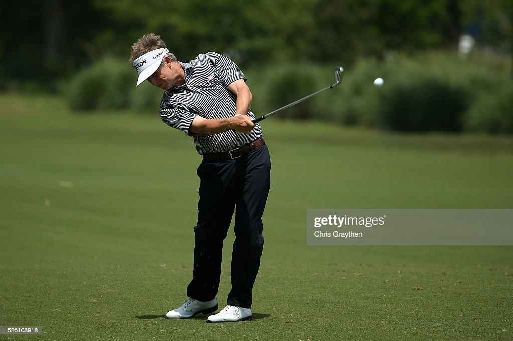 David Toms takes his second shot on the first hole during the second round of the Zurich Classic of New Orleans at TPC Louisiana on April 29, 2016 in Avondale, Louisiana.