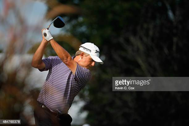 David Toms tees off on the 18th hole during the second round of the Wyndham Championship at Sedgefield Country Club on August 21 2015 in Greensboro...