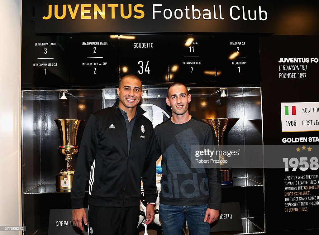 David Trezeguet and captain of Melbourne Victory Carl Valeri pose during a Juventus FC player visit to the Bourke Street adidas store on July 19 2016...