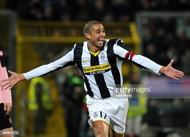 David Trezeguet of Juventus celebrates scoring the second goal during the Serie A match between Palermo and Juventus at the Stadio Barbera on...