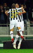 David Trezeguet of Juventus FC celebrates his goal with Sebastian Giovinco during the Serie A match between Juventus FC and SSC Napoli at Olimpico...