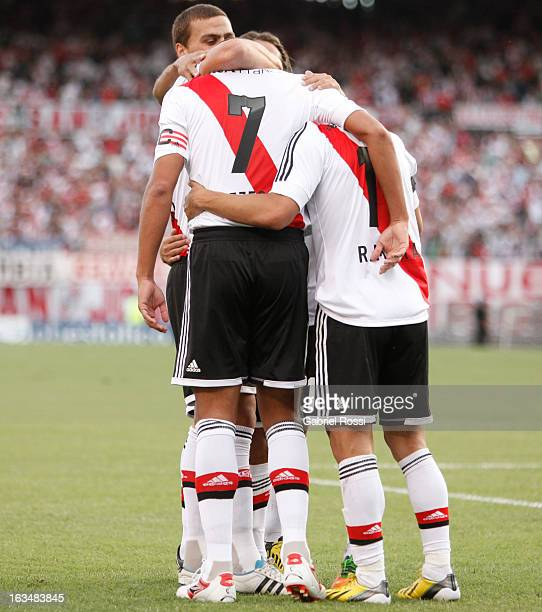 David Trezeguet of River Plate celebrates a scored goal with his teammates during the match between River Plate and Colon for the Torneo Final 2013...