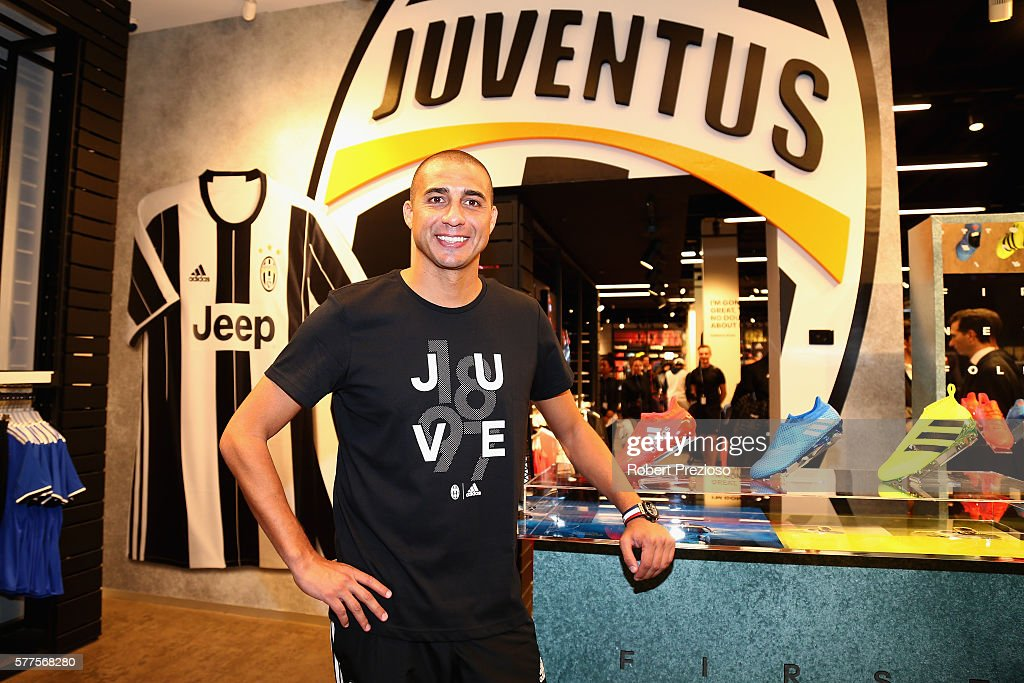 David Trezeguet poses during a Juventus FC player visit to the Bourke Street adidas store on July 19 2016 in Melbourne Australia
