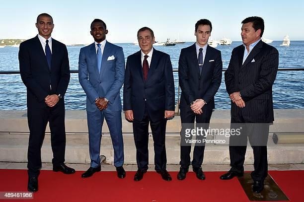 David Trezeguet Samuel Eto'o Antonio Caliendo Louis Ducruet and Daniel Passarella attend the Golden Foot award ceremony at Fairmont Hotel on...