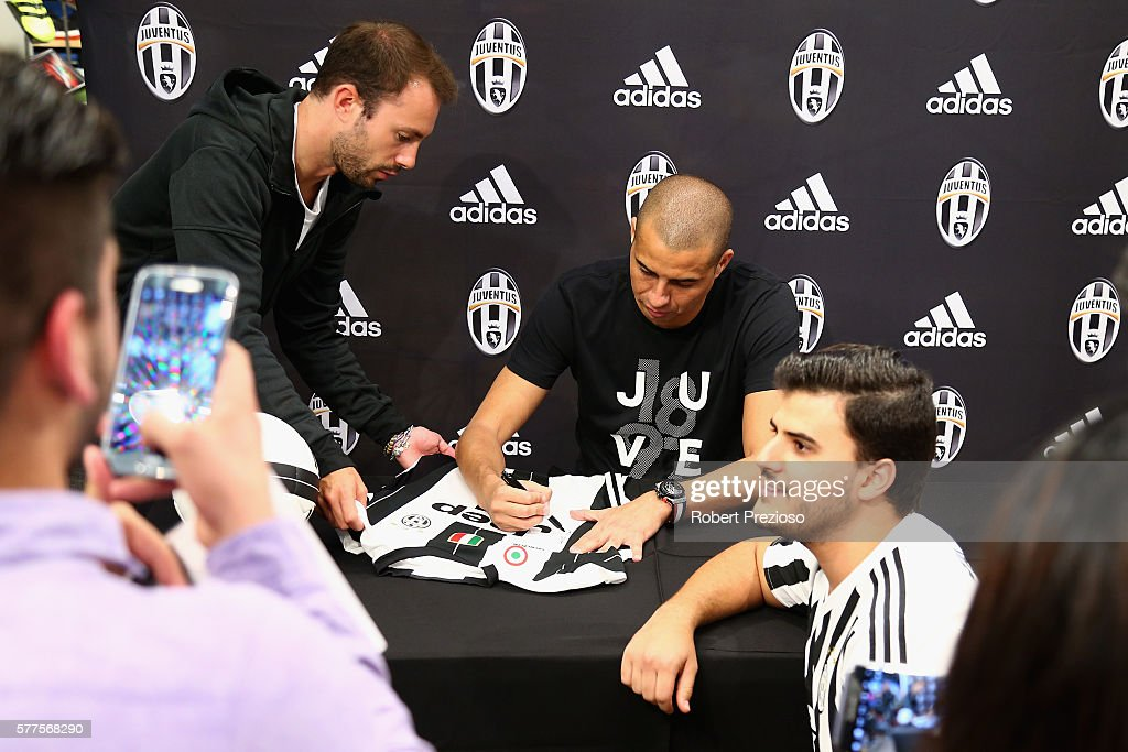 David Trezeguet signs autographs for fans during a Juventus FC player visit to the Bourke Street adidas store on July 19 2016 in Melbourne Australia