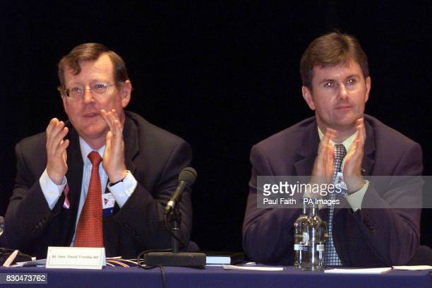 David Trimble leader of the Ulster Unionist Party with Dissident Unionist Jeffrey Donaldson at the party's annual conference at the Waterfront Hall...