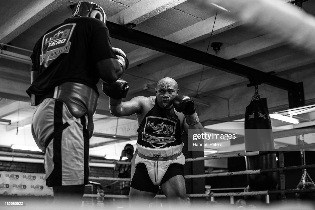 <a gi-track='captionPersonalityLinkClicked' href=/galleries/search?phrase=David+Tua&family=editorial&specificpeople=220232 ng-click='$event.stopPropagation()'>David Tua</a> fights against Raymond Olubowale during a sparring session at the <a gi-track='captionPersonalityLinkClicked' href=/galleries/search?phrase=David+Tua&family=editorial&specificpeople=220232 ng-click='$event.stopPropagation()'>David Tua</a> Gym on October 24, 2013 in Auckland, New Zealand. Tua is training ahead of the David v Goliath boxing match with Alexander Ustinov.