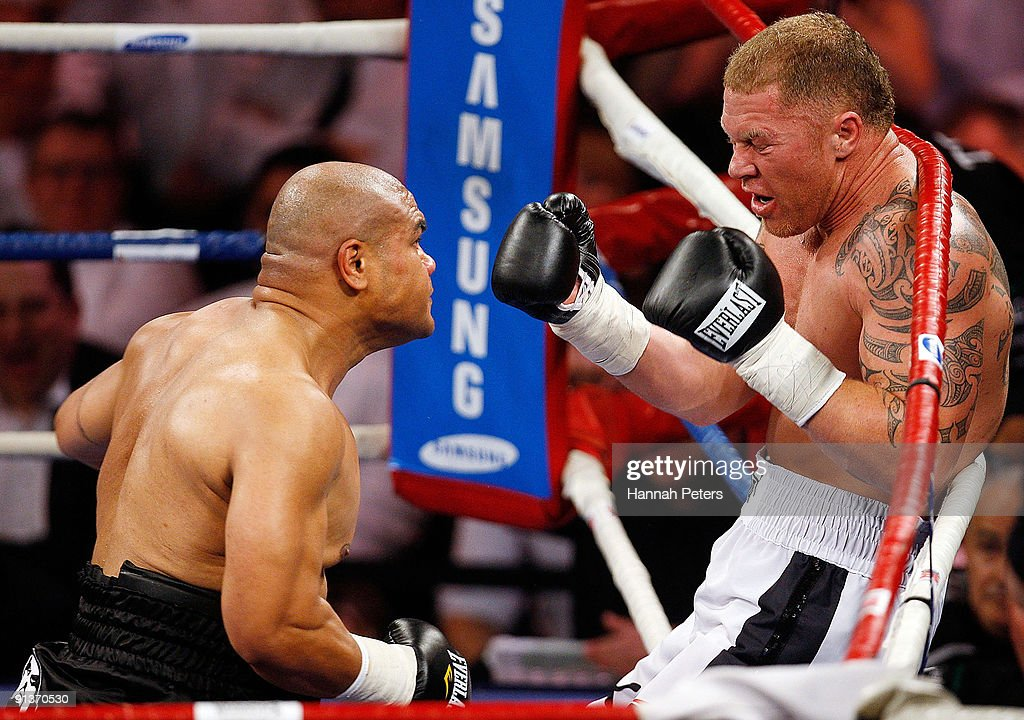 David Tua knocks Shane Cameron back into the ropes during their heavyweight fight at Mystery Creek on October 3 2009 in Hamilton New Zealand