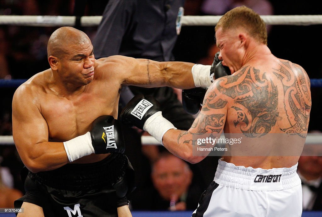 David Tua lands a left to the head of Shane Cameron during their heavyweight fight at Mystery Creek on October 3 2009 in Hamilton New Zealand