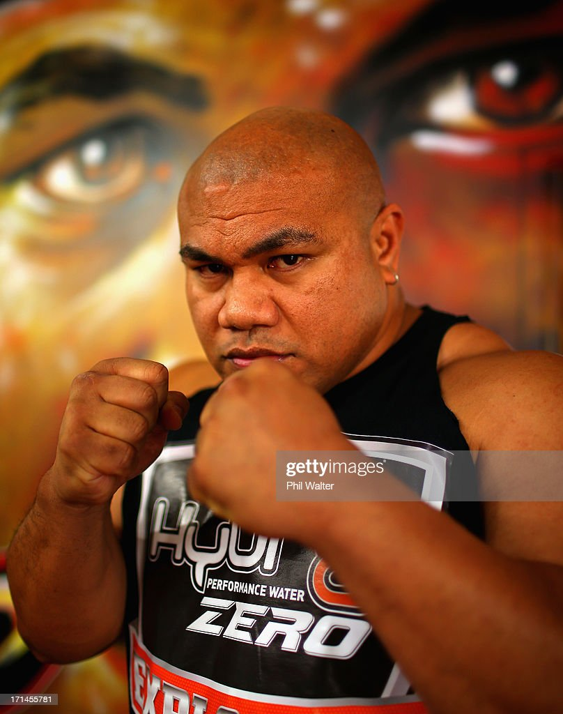 <a gi-track='captionPersonalityLinkClicked' href=/galleries/search?phrase=David+Tua&family=editorial&specificpeople=220232 ng-click='$event.stopPropagation()'>David Tua</a> poses for a portrait after speaking to media from his gym on June 25, 2013 in Auckland, New Zealand. Tua is preparing for his comeback fight against Russian, Alexander Ustinov scheduled for August 31 at the Claudelands Arena in Hamilton.