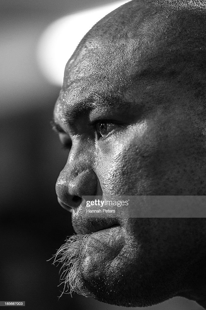 <a gi-track='captionPersonalityLinkClicked' href=/galleries/search?phrase=David+Tua&family=editorial&specificpeople=220232 ng-click='$event.stopPropagation()'>David Tua</a> waits to be interviewed following sparring session at the <a gi-track='captionPersonalityLinkClicked' href=/galleries/search?phrase=David+Tua&family=editorial&specificpeople=220232 ng-click='$event.stopPropagation()'>David Tua</a> Gym on October 24, 2013 in Auckland, New Zealand. Tua is training ahead of the David v Goliath boxing match with Alexander Ustinov.