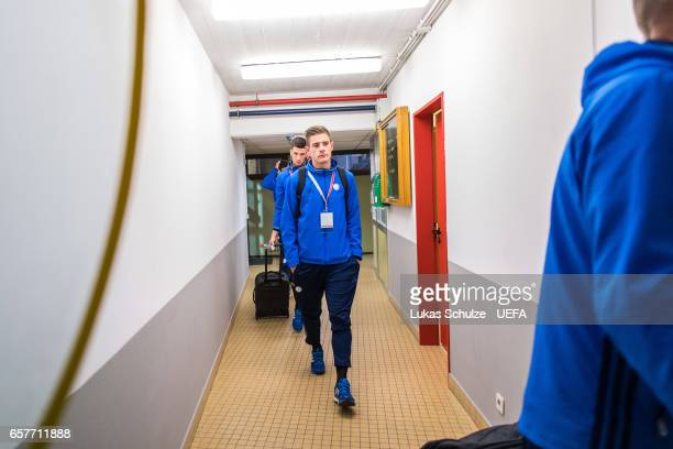 David Turpel of Luxembourg arrives prior to the FIFA 2018 World Cup Qualifier between Luxembourg and France at Stade Josy Barthel on March 25 2017 in...