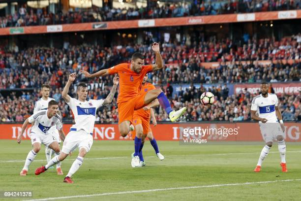 David Turpel of Luxembourg Stefano Bensi of Luxembourg Kevin Strootman of Holland Ricardo Delgado of Luxembourgduring the FIFA World Cup 2018...