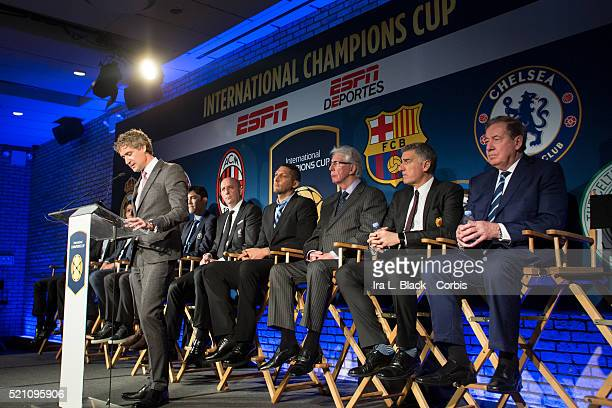 David Tyler CEO of Relevent Sports address the crowd including legends Mauro Tassotti of AC Milan Emilio Butragueno of Real Madrid Youri Djorkaeff of...