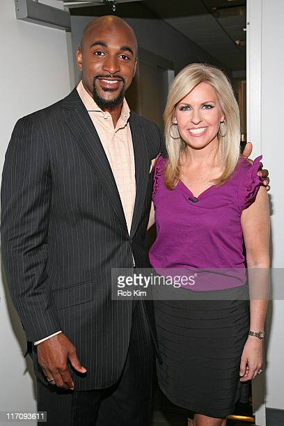 David Tyree and Monica Crowley visit America's Nightly Scoreboard with David Asman on the FOX Business Network at FOX Studios on June 21 2011 in New...