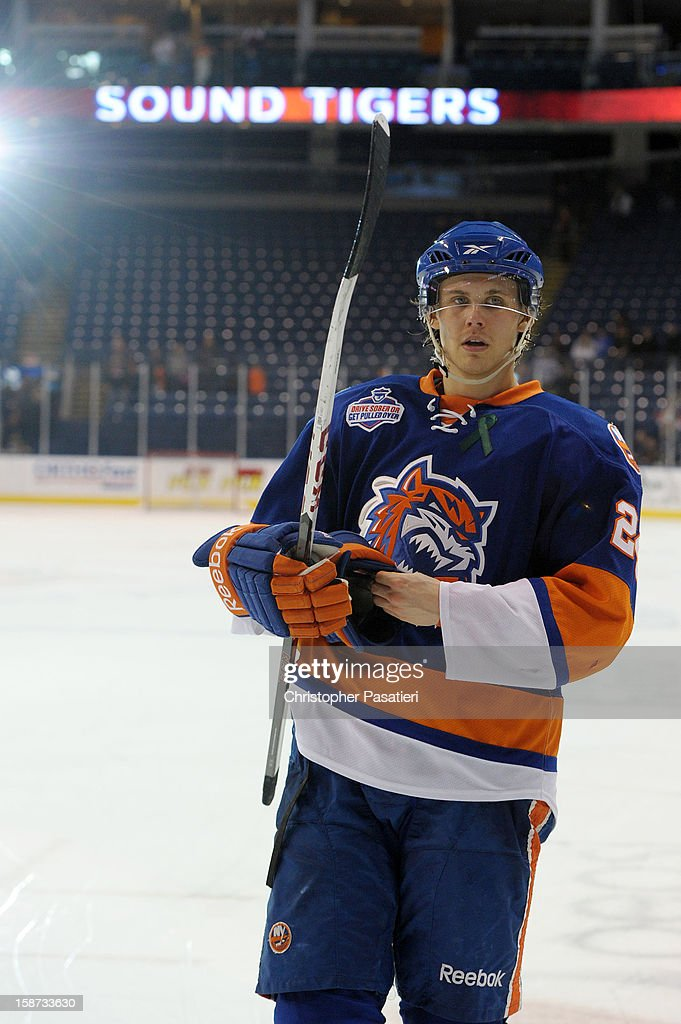 David Ullstrom #24 of the Bridgeport Sound Tigers skates off the ice after being named one of the three stars of the game after defeating the Connecticut Whale during an American Hockey League game on December 26, 2012 at the Webster Bank Arena at Harbor Yard in Bridgeport, Connecticut.