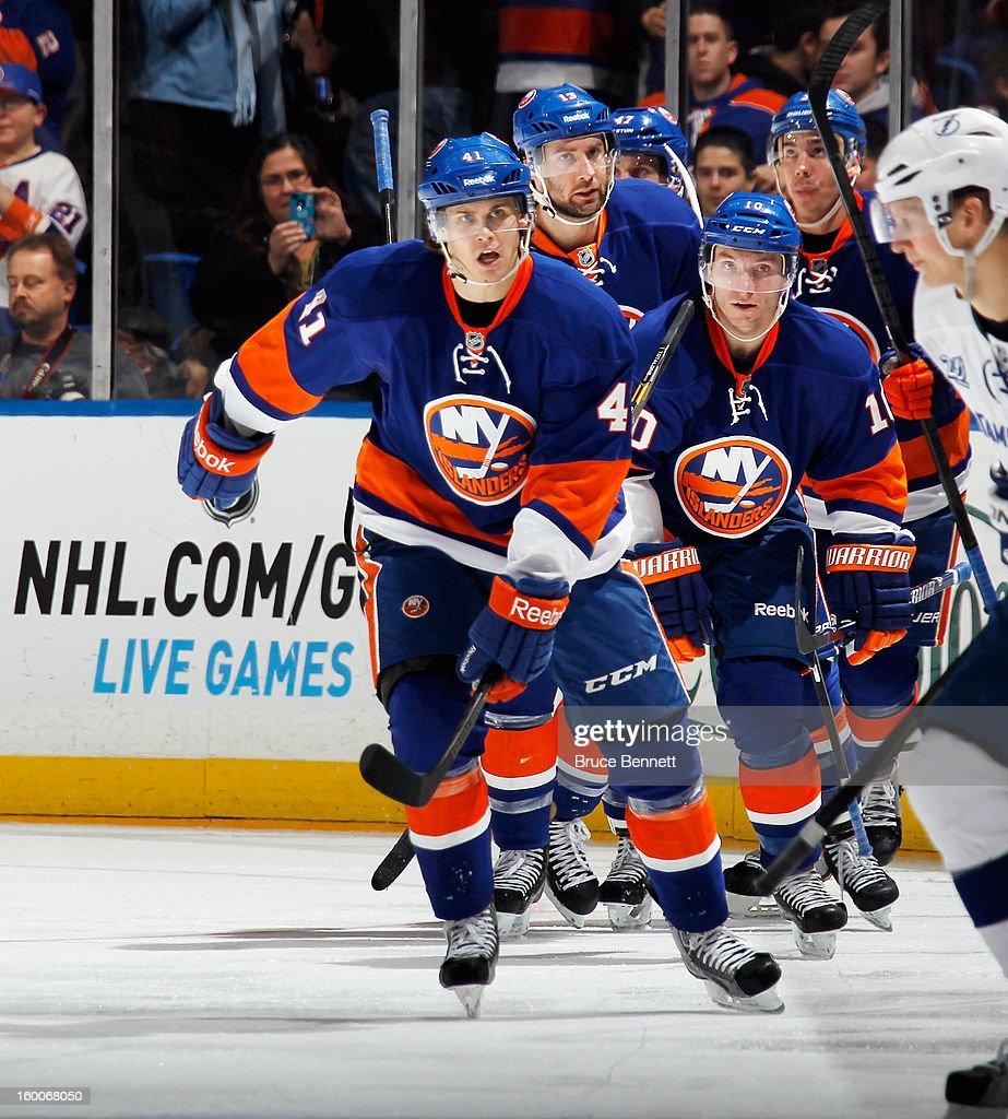 David Ullstrom #41 of the New York Islanders skates against the Tampa Bay Lightning at the Nassau Veterans Memorial Coliseum on January 21, 2013 in Uniondale, New York.
