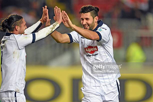 David Ulm and Stephan Salger of Bielefeld celebrate their teams second goal during the Second Bundesliga match between 1 FC Kaiserslautern and...