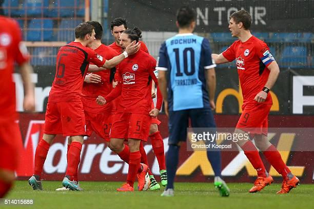 David Ulm of Bielefeld celebrates the first goal with Tom Schuetz of Bielefeld during the 2 Bundesliga match between VfL Bochum and Arminia Bielefeld...