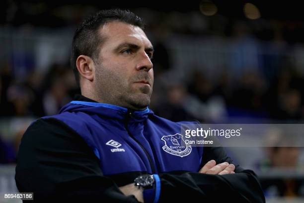 David Unsworth Caretaker Manager of Everton looks on prior to the UEFA Europa League group E match between Olympique Lyon and Everton FC at Stade de...