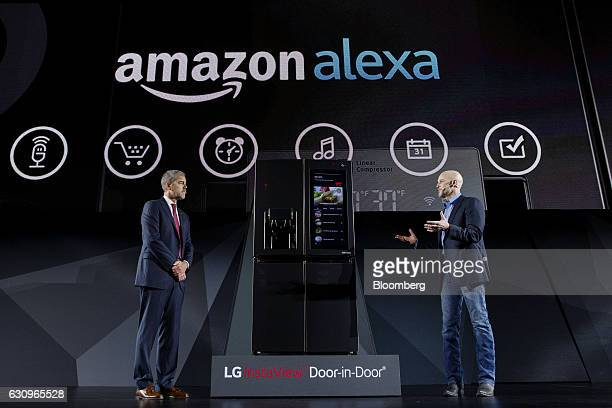 David VanderWaal vice president of marketing for LG Electronics USA left and Michael George vice president of Alexa Echo and Appstore at Amazoncom...