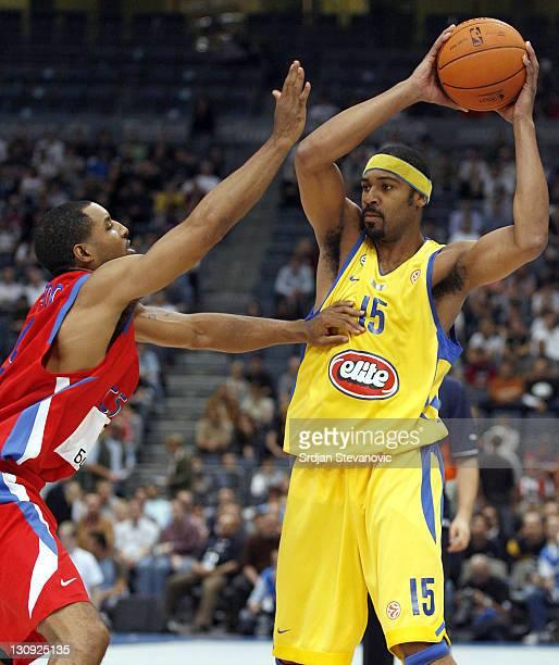 David Vanterpool of CSKA Moscow and Rodney Bufor of Maccabi Tel Aviv during an NBA Europe Live friendly game between CSKA Moscow and Maccabi Elite...