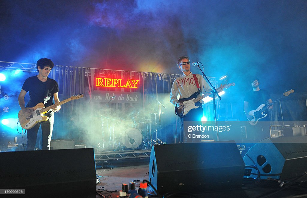 David Vassalotti, Carson Cox and Patrick Brady of Merchandise perform on stage during Day 3 of Bestival 2013 at Robin Hill Country Park on September 7, 2013 in Newport, Isle of Wight.
