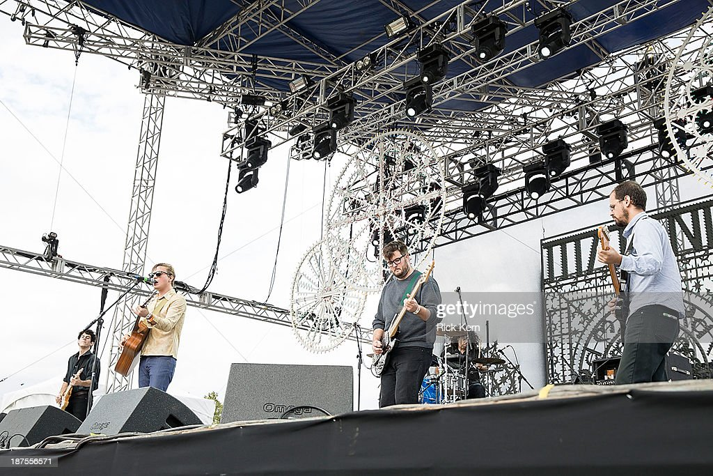 David Vassalotti, Carson Cox and Patrick Brady of Merchandise perform on stage during Day 2 of Fun Fun Fun Fest at Auditorium Shores on November 9, 2013 in Austin, Texas.