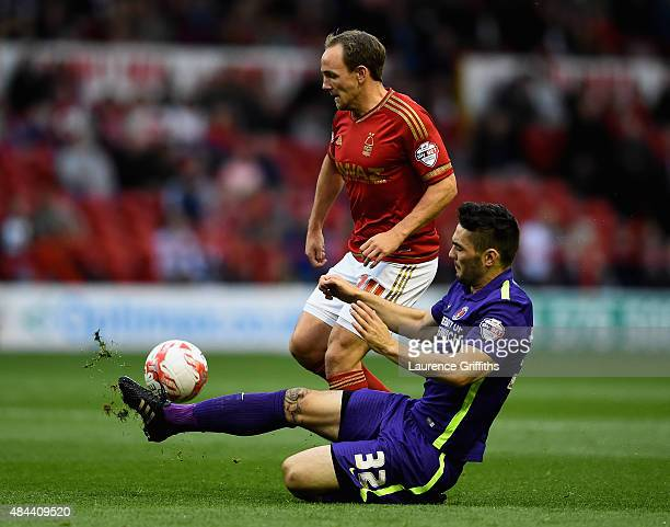 David Vaughan of Nottingam Forest battles with Tony Watt of Charlton Athletic during the Sky Bet Championship match between Nottingham Forest and...