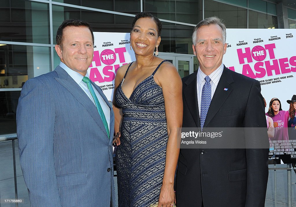 David Veneziano, Tracie Kimbrough and Gary Reedy arrive at the premiere of 'The Hot Flashes' at ArcLight Cinemas on June 27, 2013 in Hollywood, California.