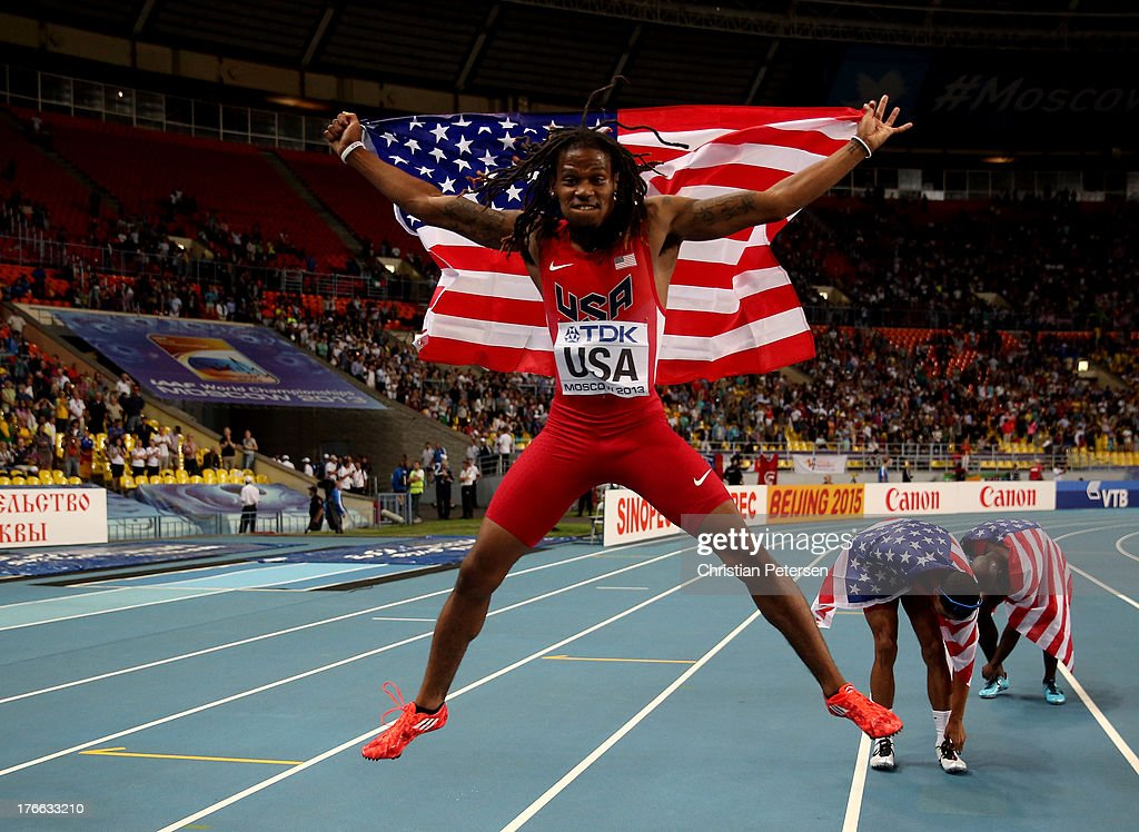 David Verburg of the United States celebrates after winning gold in the Men's 4x400 metres final during Day Seven of the 14th IAAF World Athletics Championships Moscow 2013 at Luzhniki Stadium at Luzhniki Stadium on August 16, 2013 in Moscow, Russia.