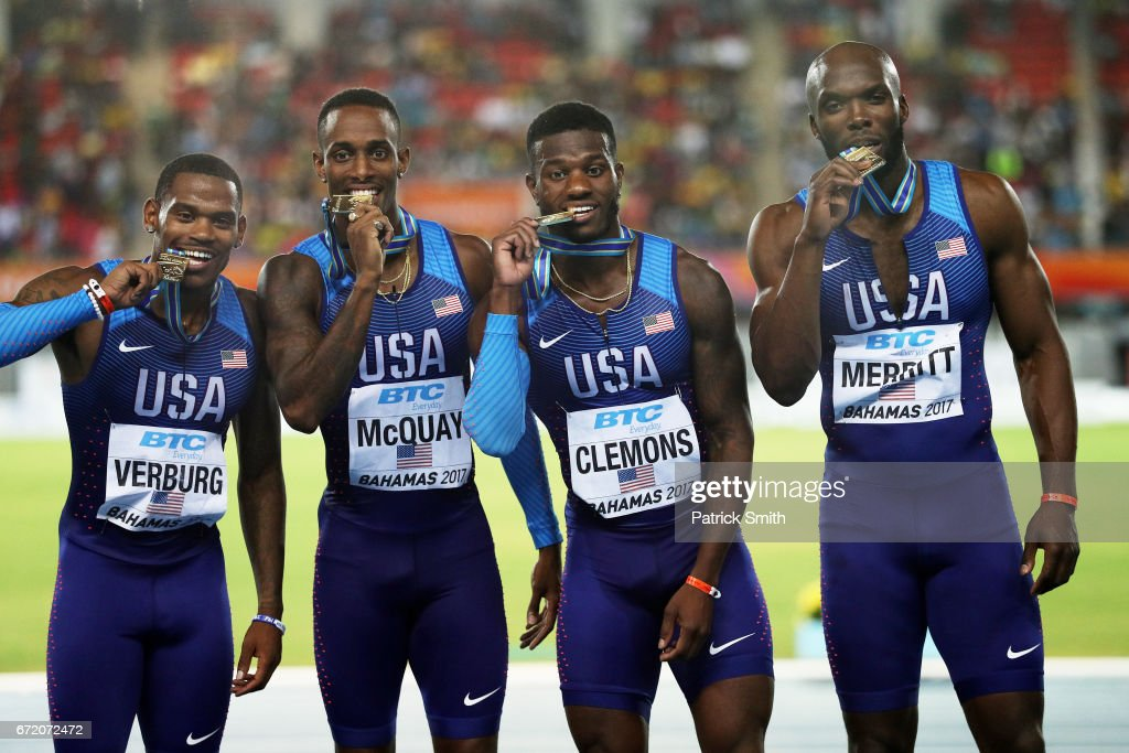 David Verburg, Tony McQuay, Kyle Clemons and LaShawn Merritt of the USA celebrate on the podium after placing first in the Men's 4x400 Metres Relay Final during the IAAF/BTC World Relays Bahamas 2017 at Thomas Robinson Stadium on April 23, 2017 in Nassau, Bahamas.
