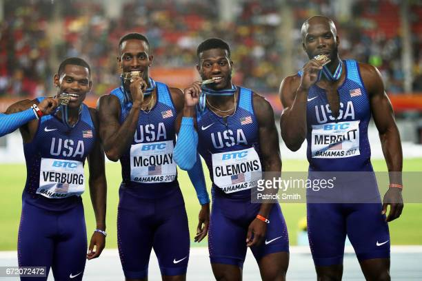 David Verburg Tony McQuay Kyle Clemons and LaShawn Merritt of the USA celebrate on the podium after placing first in the Men's 4x400 Metres Relay...