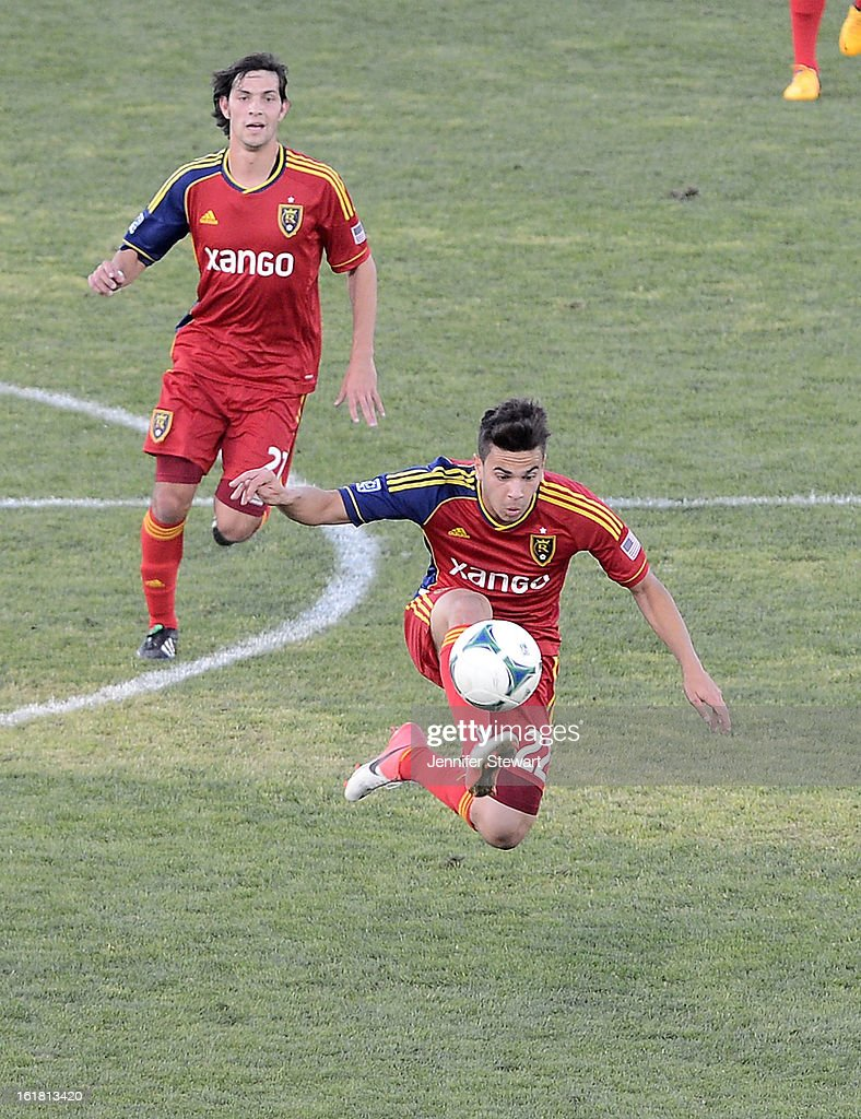 David Viana #22 of Real Salt Lake kicks the ball as teammate John Stertzer #27 watches in the second half against the Seattle Sounders during the FC Tucson Desert Diamond Cup at Kino Sports Complex on February 16, 2013 in Tucson, Arizona. Seattle Sounders defeated Real Salt Lake 2-1.