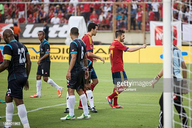 David Villa from Spain Celebrates the Second goal during the friendly match between Spain and Panama at Rommel Fernandez stadium on November 14 2012...