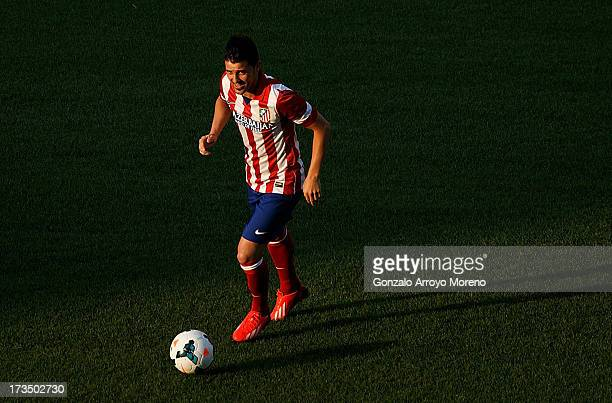 David Villa in action during his presentation as a new Atletico de Madrid player at Estadio Vicente Calderon on July 15 2013 in Madrid Spain