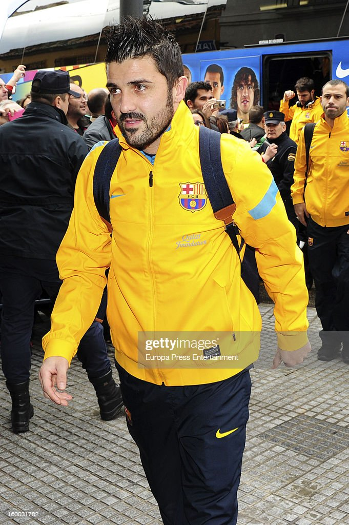 <a gi-track='captionPersonalityLinkClicked' href=/galleries/search?phrase=David+Villa&family=editorial&specificpeople=467566 ng-click='$event.stopPropagation()'>David Villa</a> is seen arriving at hotel before the match against Malaga CF for the Copa del Rey Quarter Final on January 24, 2013 in Malaga, Spain.
