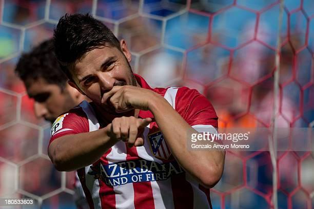 David Villa of Atletico de Madrid celebrates after scoring their opening goal during the La Liga match between Club Atletico de Madrid and UD Almeria...