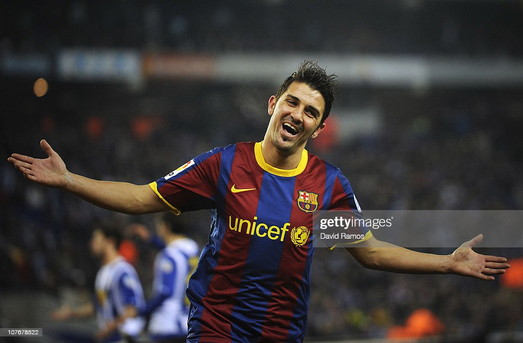 <a gi-track='captionPersonalityLinkClicked' href=/galleries/search?phrase=David+Villa&family=editorial&specificpeople=467566 ng-click='$event.stopPropagation()'>David Villa</a> of Barcelona celebrates after scoring his team's fifth goal during the La Liga match between Espanyol and Barcelona at Cornella - El Prat stadium on December 18, 2010 in Barcelona, Spain.