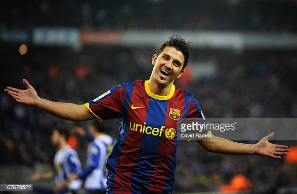 David Villa of Barcelona celebrates after scoring his team's fifth goal during the La Liga match between Espanyol and Barcelona at Cornella El Prat...