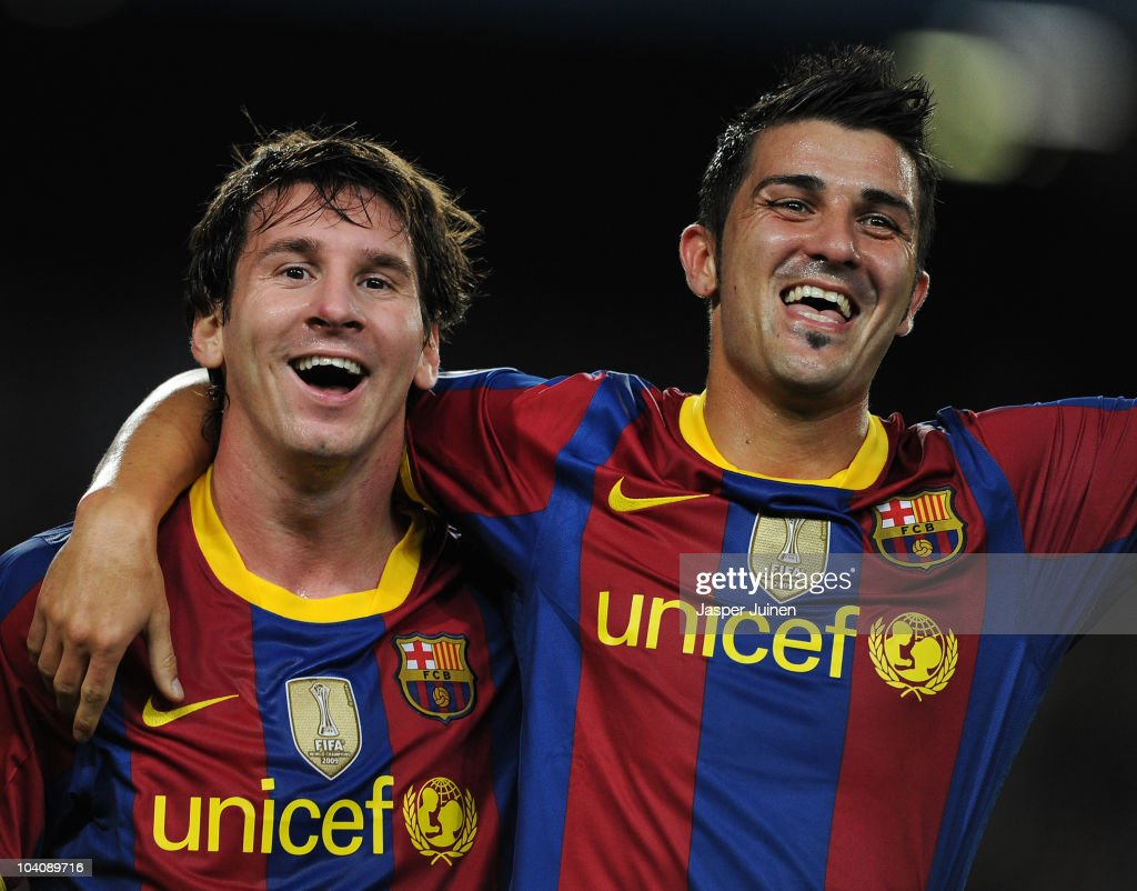 <a gi-track='captionPersonalityLinkClicked' href=/galleries/search?phrase=David+Villa&family=editorial&specificpeople=467566 ng-click='$event.stopPropagation()'>David Villa</a> (R) of Barcelona celebrates scoring his sides second goal with his teammate <a gi-track='captionPersonalityLinkClicked' href=/galleries/search?phrase=Lionel+Messi&family=editorial&specificpeople=453305 ng-click='$event.stopPropagation()'>Lionel Messi</a> during the UEFA Champions League group D match between Barcelona and Panathinaikos on September 14, 2010 in Barcelona, Spain. Barcelona won the match 5-1.