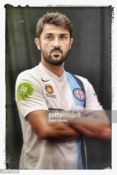 David Villa of City poses during the ALeague 201415 Season launch at Etihad Stadium on October 7 2014 in Melbourne Australia
