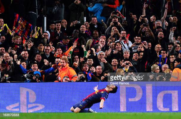 David Villa of FC Barcelona celebrates after scoring his team's third goal during the UEFA Champions League round of 16 second leg match between FC...