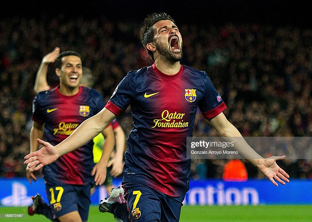 <a gi-track='captionPersonalityLinkClicked' href=/galleries/search?phrase=David+Villa&family=editorial&specificpeople=467566 ng-click='$event.stopPropagation()'>David Villa</a> of FC Barcelona celebrates scoring their third goal during the UEFA Champions League Round of 16 second leg match between FC Barcelona and AC Milan at Camp Nou Stadium on March 12, 2013 in Barcelona, Spain.