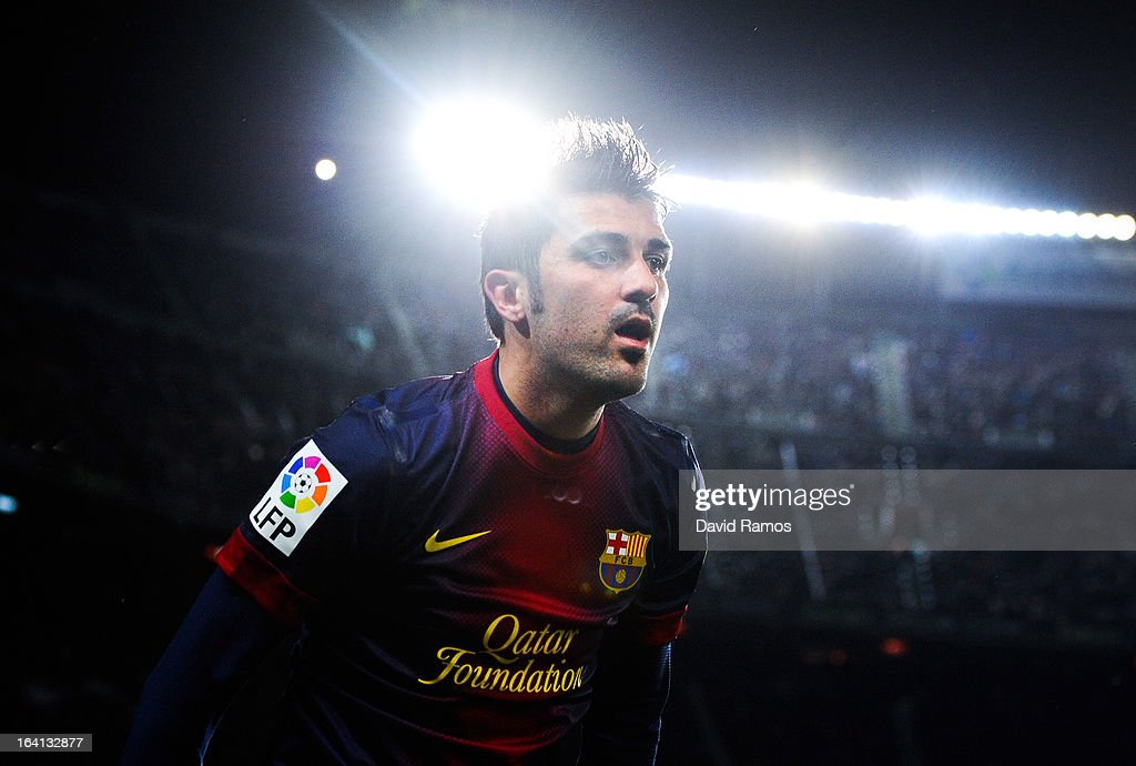 <a gi-track='captionPersonalityLinkClicked' href=/galleries/search?phrase=David+Villa&family=editorial&specificpeople=467566 ng-click='$event.stopPropagation()'>David Villa</a> of FC Barcelona looks on during the La Liga match between FC Barcelona and Rayo Vallecano at Camp Nou on March 17, 2013 in Barcelona, Spain.