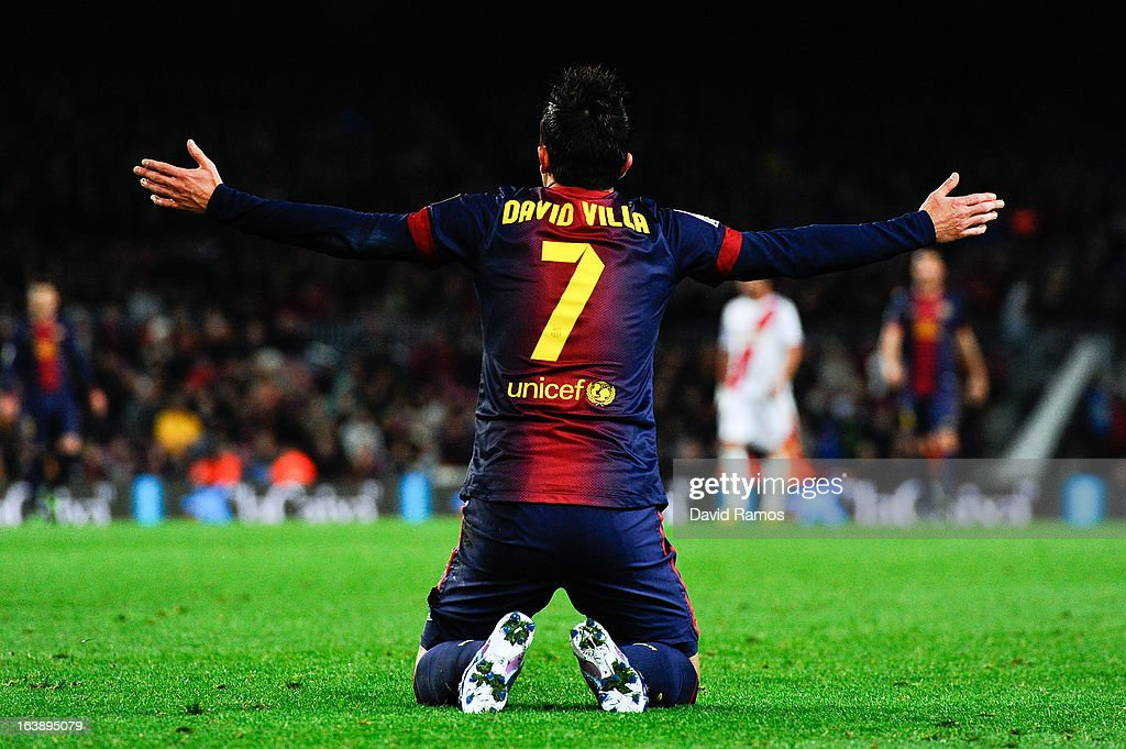 <a gi-track='captionPersonalityLinkClicked' href=/galleries/search?phrase=David+Villa&family=editorial&specificpeople=467566 ng-click='$event.stopPropagation()'>David Villa</a> of FC Barcelona reacts during the La Liga match between FC Barcelona and Rayo Vallecano at Camp Nou on March 17, 2013 in Barcelona, Spain.
